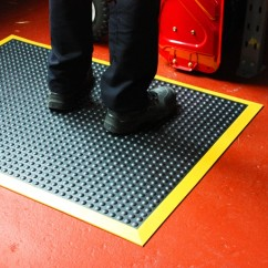 ErgoBubble 3x4 Anti Fatigue Mat with Black/Yellow Border